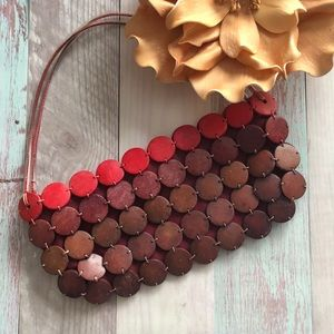 Burgundy wooden hand bag/clutch style